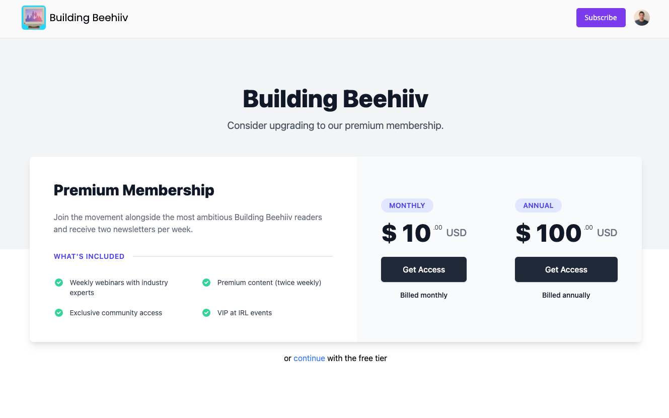beehiiv upgrade page